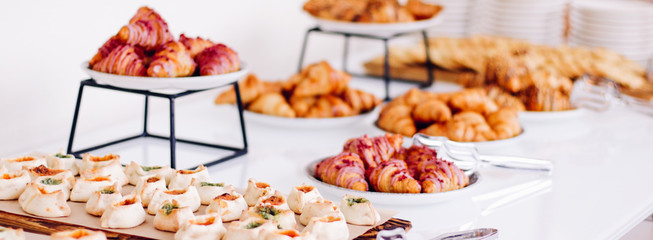 Pastry buffet served at charity event, sweet food and dessert table Fototapete