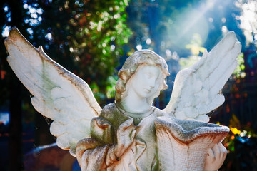 Fototapete - Death. Sad angel with urn with dust as symbol of pain, fear and end of life. Ancient statue.