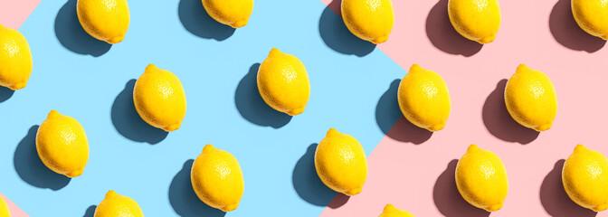 Poster Countryside Fresh yellow lemons overhead view - flat lay