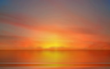 Foto auf Leinwand Ziegel pink sea sunset at sea summer evening moon on cloudy sky in sea water reflection ocean blue water and sun light go down beautiful landscape