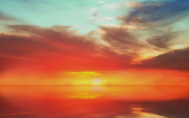 Foto auf Leinwand Rot pink sea sunset at sea summer evening moon on cloudy sky in sea water reflection ocean blue water and sun light go down beautiful landscape