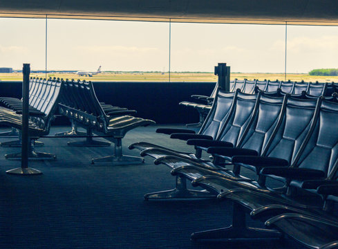 Empty waiting area at airport terminal