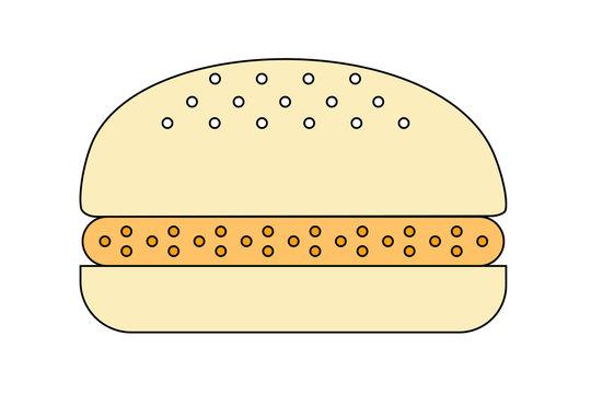 Crispy fish burger cartoon isolated on white background. One layer of fried fish.