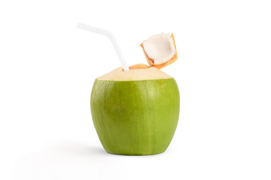 Fresh green coconut with white straw drinking isolated on white background.