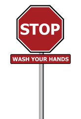Stop sign with wash your hands