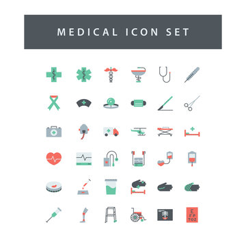 Medical Dental icon set with colorful modern Flat style design.
