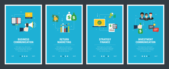 Internet banner set of business, communication and finance icons.