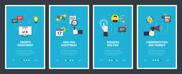 Internet banner set of investment, business and finance icons.