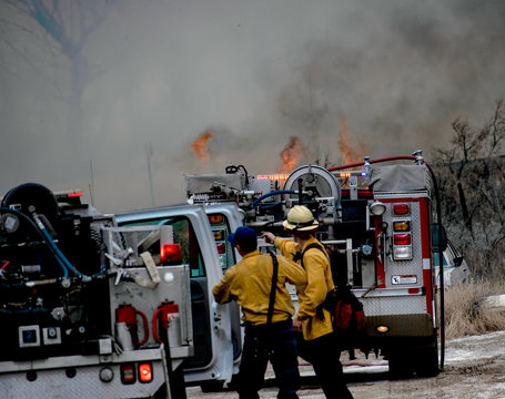 Firefighters at the Scene of a Wildfire