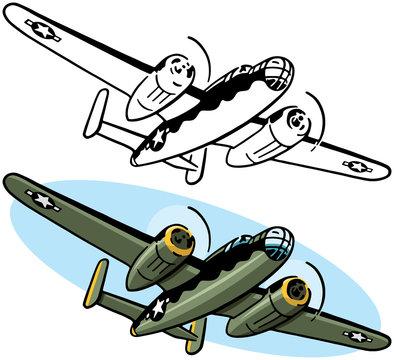A drawing of an American World War II era bomber aircraft.