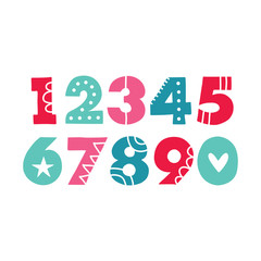 Bold hand drawn vector numbers with patterns and shapes