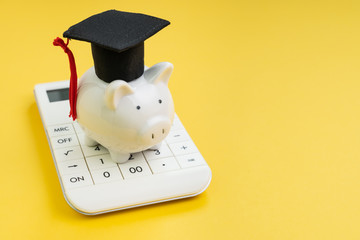 Student loan payment calculation, scholarship or saving for school and education concept, white...