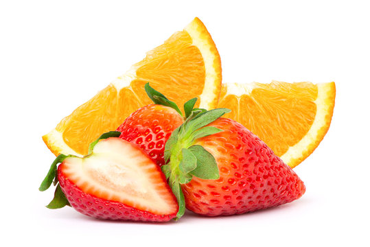 Pile of fresh organic orange fruit with slice and red ripe strawberry berry isolated on white background.