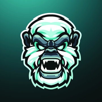 Yeti head mascot logo