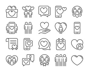 Love icons. Friendship and Love line icon set. Vector illustration. Editable stroke.