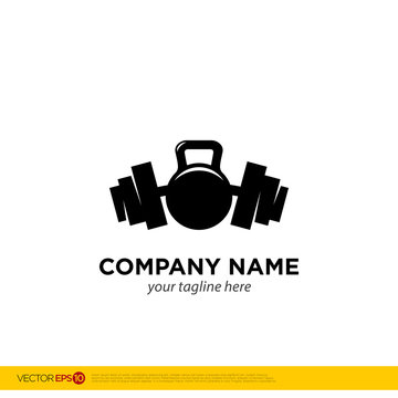 Fitness club logo with barbell and kettlebell on white, vector illustration template