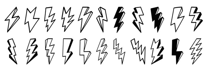 Lightning bolt icons set. Thunder hand drawn doodle. Vector illustration