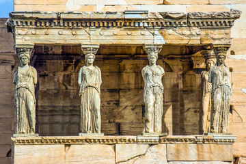 Beautiful landscape of the acropolis Caryatids Temple of athena