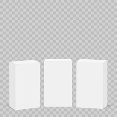 White cardboard box mock up on transparent background. Set of cosmetic or medical packings. Vector