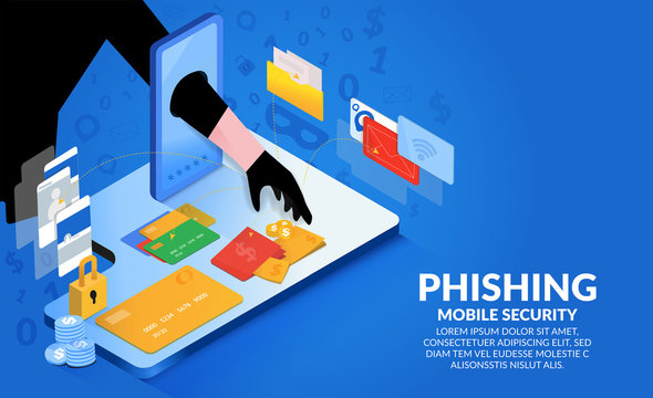 The hacker hands extending from the phone to steal money.Hacking credit cards, passwords and personal information.Cyber banking account attack and email phishing concept. Isometric illustrator vector.