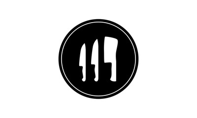 Logo icon with flat, black circle. circular cutout and cutouts in the shape of 2 knives and a cleaver. Icon is great for chef, restaurant, butcher or cutlery logo or badge.