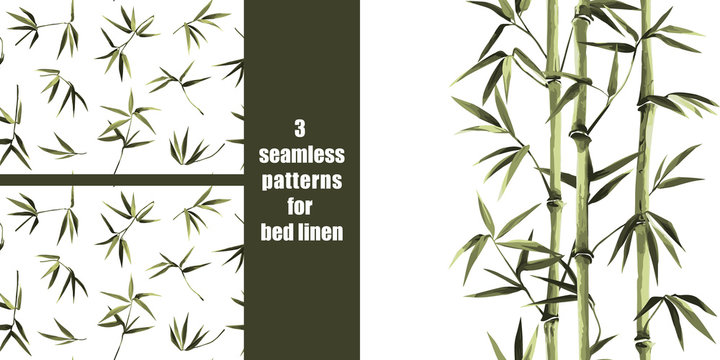 Green bamboo seamless patterns set for bed linen