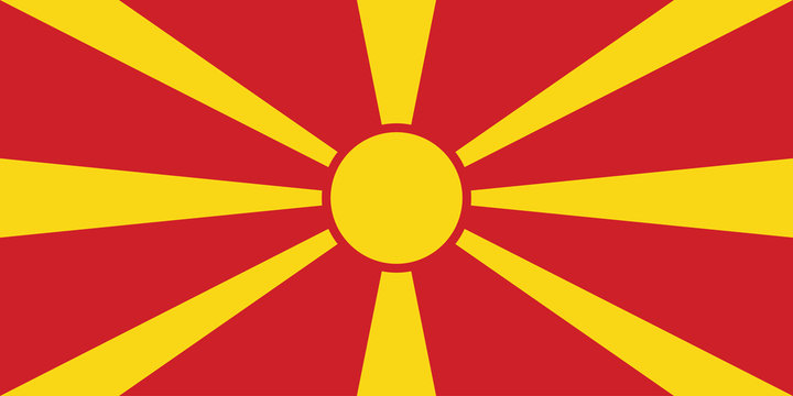North Macedonia national flag graphics design. Perfect for backgrounds, backdrop, banner, stickers, posters, labels, sign, symbol, icon and wallpapers.