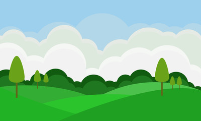 Flat landscape with green yard and tree on blue sky background.