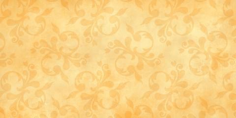 Jugendstil viktorianisch floral Ornament auf Hintergrund gelb gold Textil Wand antik altes Papier Vorlage Layout Design Template Geschenk zeitlos schön alt barock edel rokoko elegant background