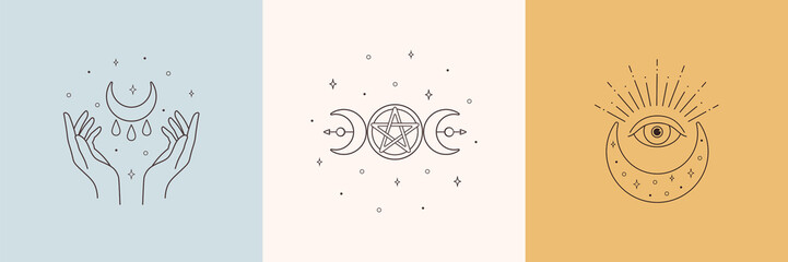 Mystic boho logo, design elements with moon, hands, star, eye. Vector magic symbols isolated on white background