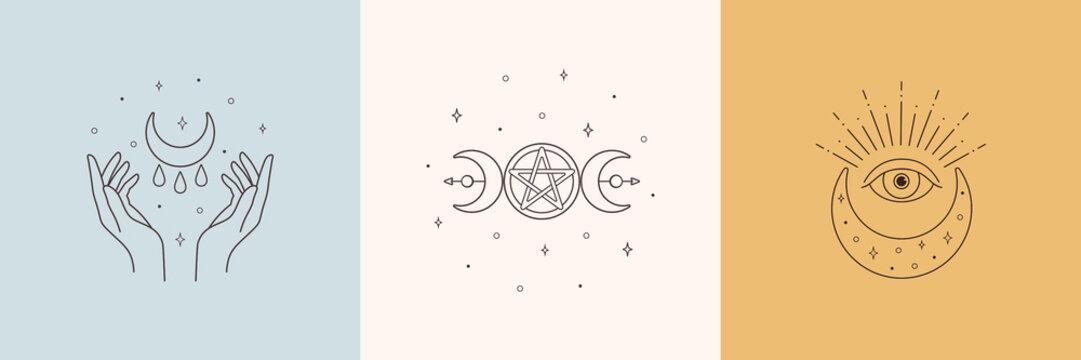 Mystic boho logo, design elements with moon, hands, star, eye. Vector magic symbols isolated on white background