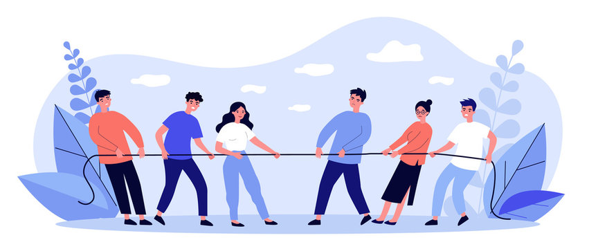 People playing game and pulling rope flat vector illustration. Office contest for two teams resisting each other in struggle. Competition, challenge and confrontation concept