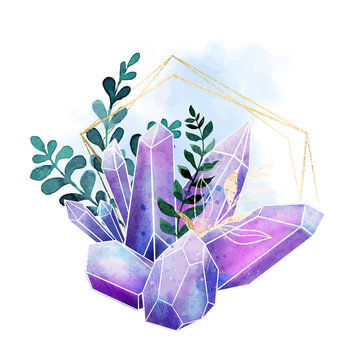 Watercolor gems, crystals and leaves, hand drawn watercolor composition