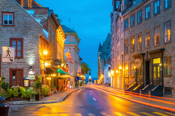 Poster Canada Old town area in Quebec city, Canada at twilight
