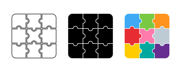 Puzzle collection. Puzzle pieces different color and design. Puzzle jigsaw, isolated on white background in flat, web and linear design. Vector illustration