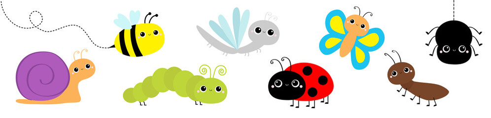 Snail, beetle, ladybug ladybird, dragonfly, ant, butterfly, green caterpillar, spider, honey bee. Insect set. Cute cartoon kawaii baby animal character. Flat design. Isolated. White background.