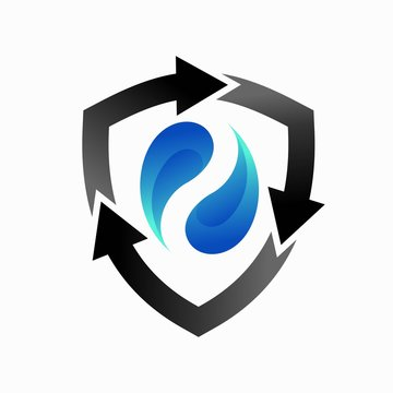 recycle logo and water element