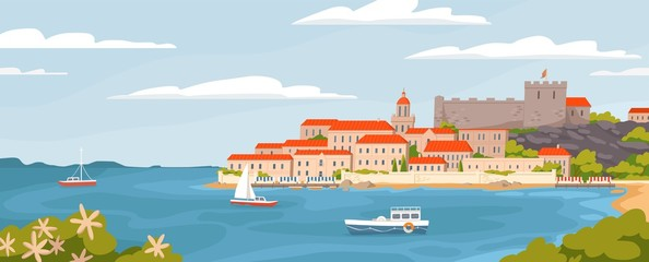 Beautiful European town on summer sea coast vector graphic illustration. Natural panoramic landscape view sky, water, city houses, ships and boats amazing seascape