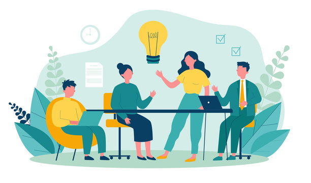 Business team working together, brainstorming, discussing ideas for project. People meeting at desk in office. Vector illustration for co-working, teamwork, workspace concept