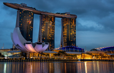Singapore Marina District at twilight