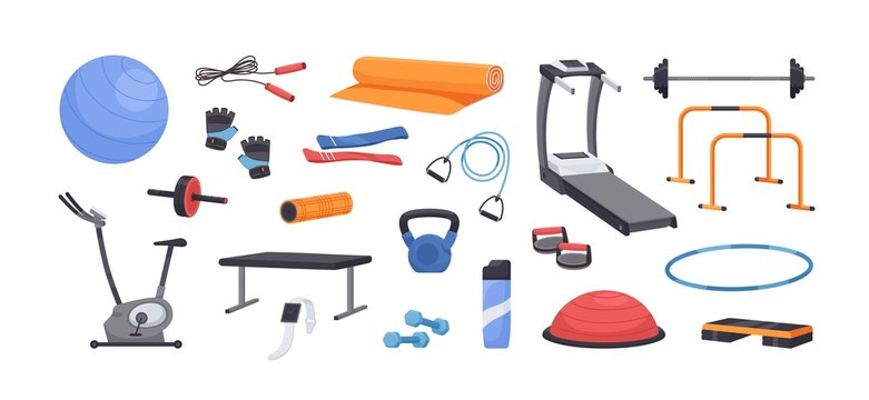 Set of colored various gym equipment vector graphic illustration. Collection of sport training apparatus, dumbbells, jump rope, aerobic ball, mat isolated on white background