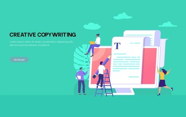 copywriting vector illustration concept, happy man and woman typing article on laptop can be use for, landing page, template, ui, web, mobile app, poster, banner, flyer
