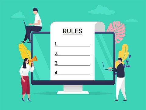 Regulation Compliance Rules Law vector illustration concept, people understanding rules with big computer and paper, can use for, landing page, template, ui, web, homepage, poster, banner, flyer