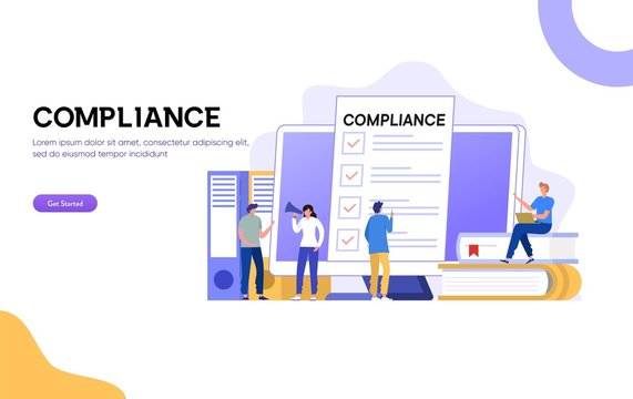 Compliance Rules vector illustration, Businessman offering to sign business contract concept, people discuss regulation, can use for, landing page, template, ui, web, homepage, poster, banner, flyer