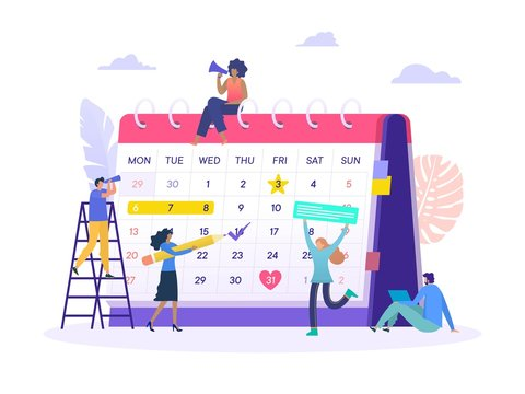 business plan agenda appoitnment vector illustration concept, group of people make an online schedule with big calendar can use for, landing page, template, ui, web, homepage, poster, banner, flyer