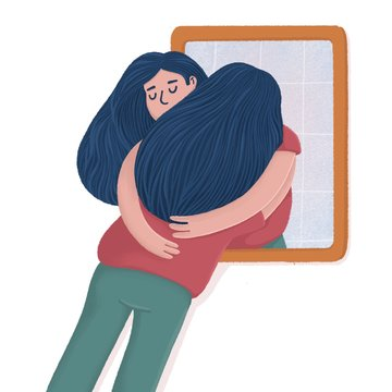 Woman hugging with her reflection in the mirror, self-acceptance, self care concept, flat raster illustration. Young woman hugging, embracing her reflection, metaphor of unconditional self acceptance