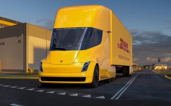 Vision of using Tesla Semi Truck electric truck by DHL logistics.Szczecin,Poland-February 2020.