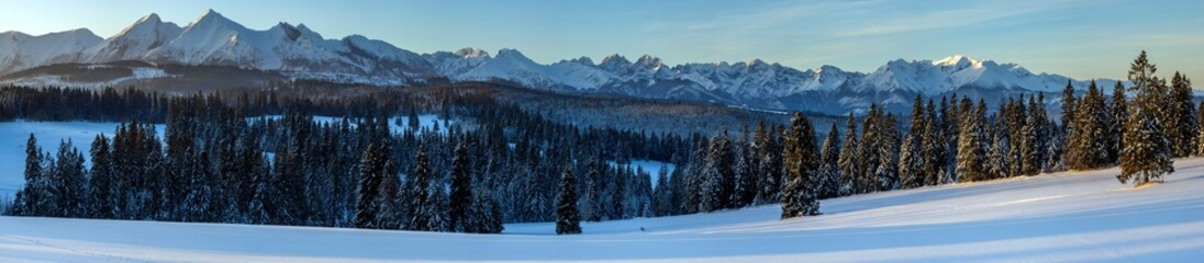 Fotomurales - Beautiful winter mountain landscape at sunrise-Tatra Mountains, Poland.Panorama