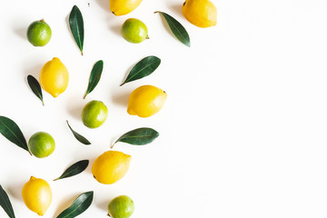 Lemon and lime fruits on white background. Flat lay, top view