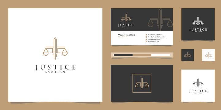Symbol Law of Justice. Law Firm, Law Offices, Attorney services, Luxury logo design inspiration.